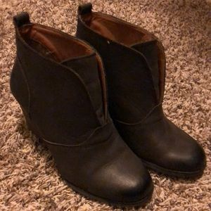 Lucky Brand Yinan Wedge Bootie Dark Br Leather 8.5